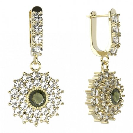 BG circular earring 004-96 - Metal: Silver - gold plated 925, Stone: Moldavite and cubic zirconium