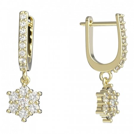 BeKid, Gold kids earrings -109 - Switching on: Circles 12 mm, Metal: White gold 585, Stone: Pink cubic zircon