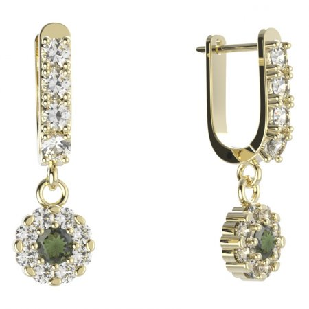 BG circular earring 088-96 - Metal: White gold 585, Stone: Moldavite and cubic zirconium
