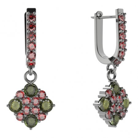 BG Earring - 317 - Switching on: Hinge, Metal: Silver - gold plated 925, Stone: Garnet
