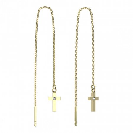 BeKid, Gold kids earrings -1105 - Switching on: Chain 9 cm, Metal: Yellow gold 585, Stone: White cubic zircon