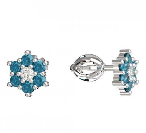 BeKid, Gold kids earrings -109 - Switching on: Screw, Metal: White gold 585, Stone: Light blue cubic zircon