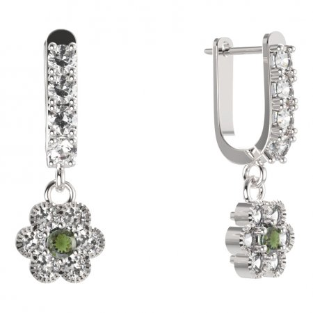 BG circular earring 140-96 - Metal: Silver - gold plated 925, Stone: Moldavite and cubic zirconium