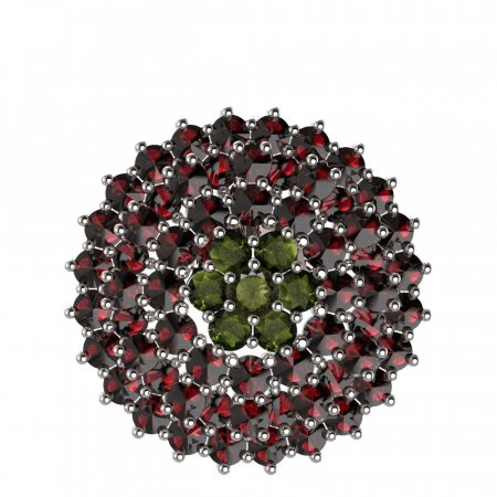 BG brooch 223 - Metal: White gold 585, Stone: Moldavit and garnet