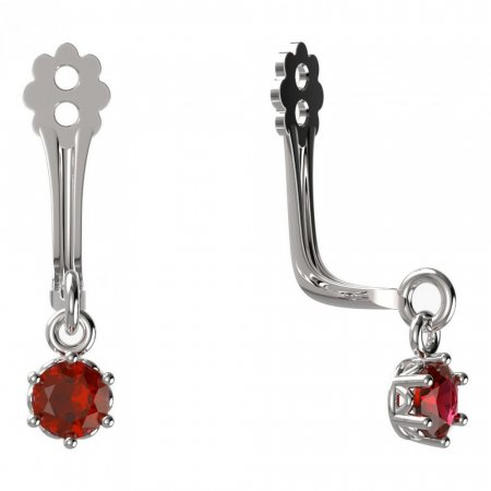 BeKid Gold earrings components I3 - Metal: White gold 585, Stone: Red cubic zircon