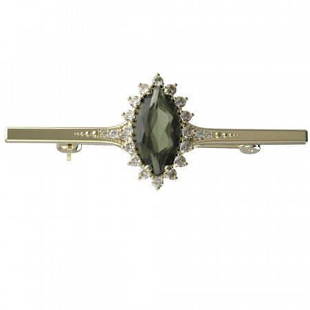 BG brooch 513K - Metal: Yellow gold 585, Stone: Moldavit and garnet