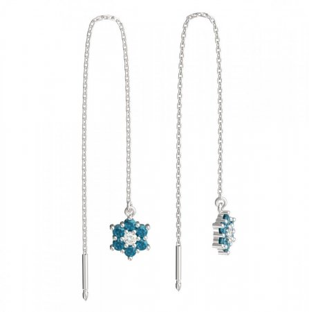 BeKid, Gold kids earrings -109 - Switching on: Chain 9 cm, Metal: White gold 585, Stone: Light blue cubic zircon