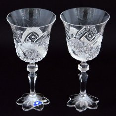 Set of two crystal hand cut wine glasses Šafránek 220