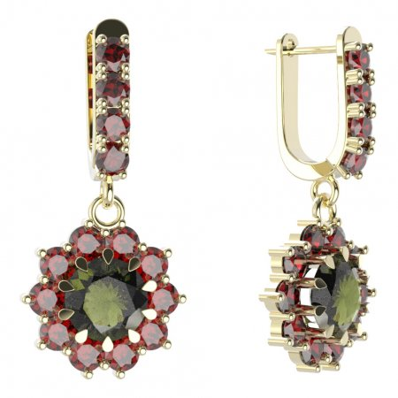 BG circular earring 011-96 - Metal: Yellow gold 585, Stone: Moldavite and cubic zirconium
