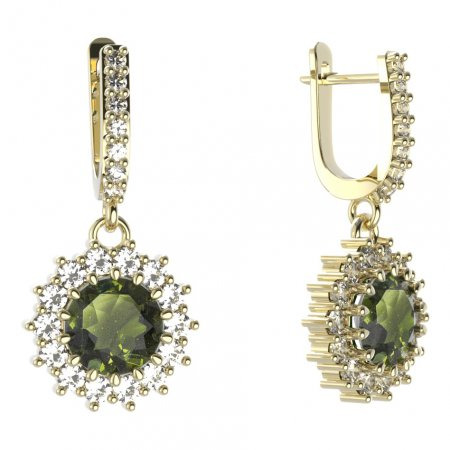 BG circular earring 096-84 - Metal: Silver - gold plated 925, Stone: Moldavit and garnet