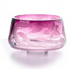 Hand engraved bowl violet with flowers SRQA0DM13