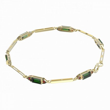 BG bracelet 646 - Metal: White gold 585, Stone: Moldavite and cubic zirconium