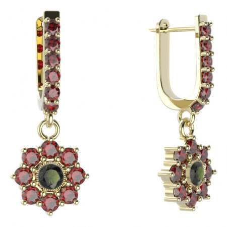BG circular earring 030-94 - Metal: Silver - gold plated 925, Stone: Moldavit and garnet
