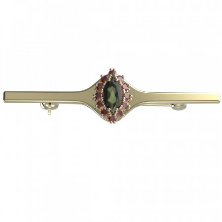 BG brooch 504I - Metal: Silver - gold plated 925, Stone: Moldavite and cubic zirconium