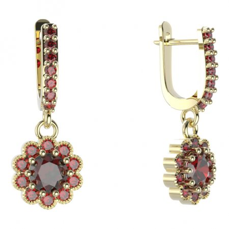BG circular earring 159-84 - Metal: Yellow gold 585, Stone: Moldavite and cubic zirconium