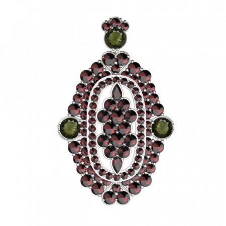 BG brooch 348 - Metal: Silver 925 - rhodium, Stone: Moldavit and garnet