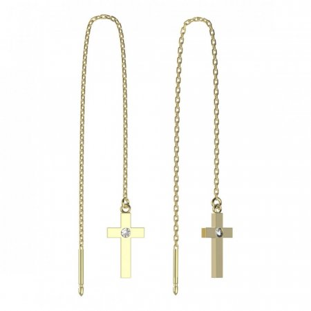 BeKid, Gold kids earrings -1104 - Switching on: Chain 9 cm, Metal: Yellow gold 585, Stone: Light blue cubic zircon