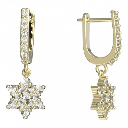 BeKid, Gold kids earrings -090 - Switching on: Circles 15 mm, Metal: Yellow gold 585, Stone: Pink cubic zircon