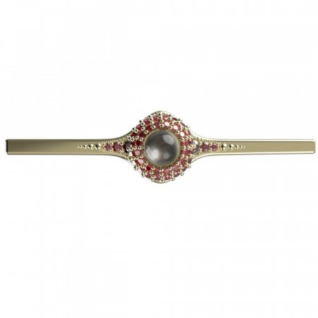 BG brooch 540K - Metal: Yellow gold 585, Stone: Garnet and pearl