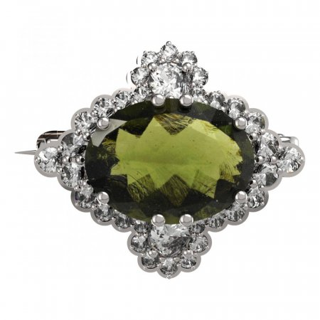 BG brooch 686 - Metal: Silver 925 - rhodium, Stone: Moldavit and garnet