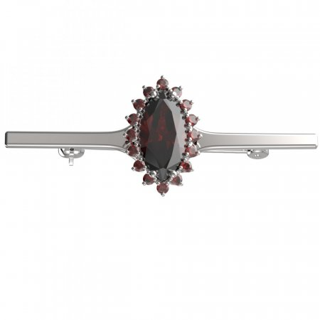 BG brooch 513I - Metal: Silver - gold plated 925, Stone: Moldavite and cubic zirconium