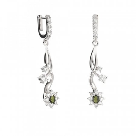 BG earring oval 627-P93 - Metal: Silver - gold plated 925, Stone: Moldavite and cubic zirconium