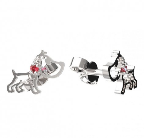 BeKid, Gold kids earrings -1159 - Switching on: Puzeta, Metal: White gold 585, Stone: Red cubic zircon