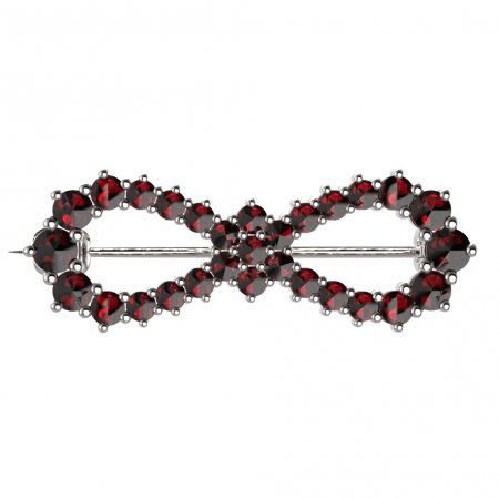 BG brooch 024 - Metal: White gold 585, Stone: Garnet