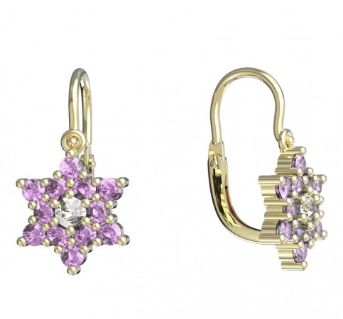 BeKid, Gold kids earrings -090 - Switching on: Brizura 0-3 roky, Metal: Yellow gold 585, Stone: Pink cubic zircon