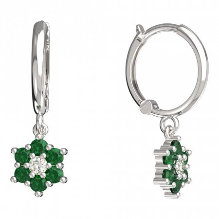 BeKid, Gold kids earrings -109 - Switching on: Circles 12 mm, Metal: White gold 585, Stone: Green cubic zircon