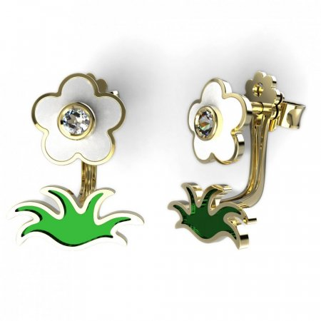 BeKid Gold earrings components - Grass - Metal: White gold 585, Stone: White cubic zircon