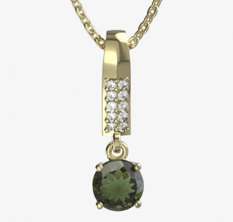 BG moldavite pendant - 727 - Metal: Yellow gold 585, Handle: Handle 0, Stone: Moldavite