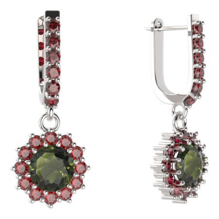 BG circular earring 098-94 - Metal: Yellow gold 585, Stone: Garnet