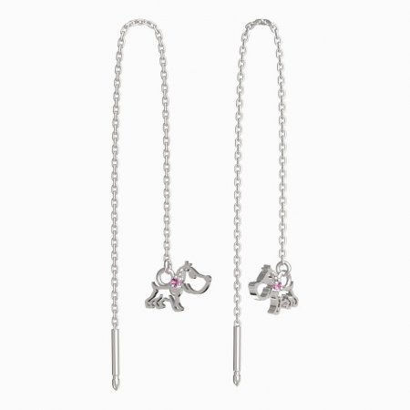 BeKid, Gold kids earrings -1159 - Switching on: Chain 9 cm, Metal: White gold 585, Stone: Pink cubic zircon