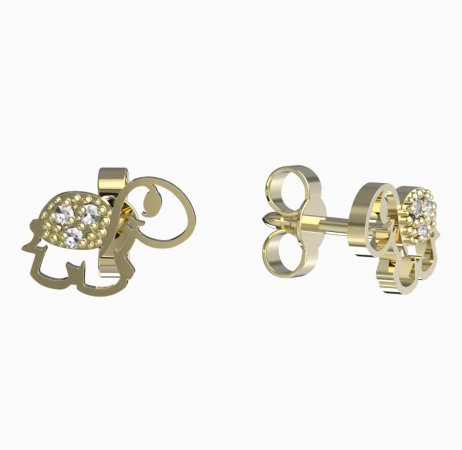 BeKid, Gold kids earrings -1187 - Switching on: Brizura 0-3 roky, Metal: Yellow gold 585, Stone: White cubic zircon