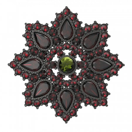 BG brooch 203 - Metal: Silver 925 - ruthenium, Stone: Moldavit and garnet