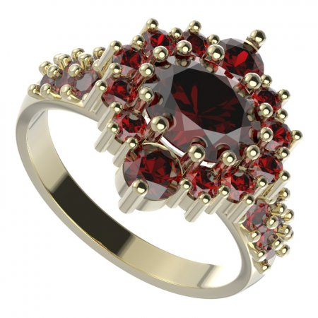 BG ring 224-X oval - Metal: Silver 925 - rhodium, Stone: Moldavit and garnet