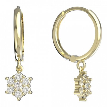 BeKid, Gold kids earrings -109 - Switching on: Brizura 0-3 roky, Metal: White gold 585, Stone: Pink cubic zircon