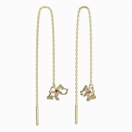 BeKid, Gold kids earrings -1159 - Switching on: Chain 9 cm, Metal: Yellow gold 585, Stone: Red cubic zircon