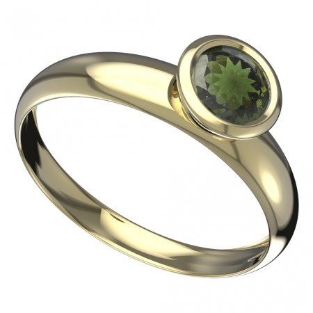 BG moldavit ring - 557T - Metal: Yellow gold 585, Stone: Moldavite