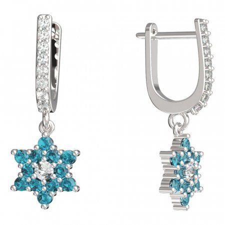 BeKid, Gold kids earrings -090 - Switching on: English, Metal: White gold 585, Stone: Light blue cubic zircon