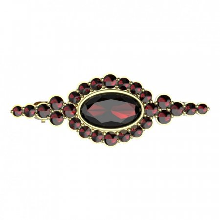 BG brooch 355 - Metal: Yellow gold 585, Stone: Garnet