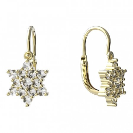 BeKid, Gold kids earrings -090 - Switching on: Puzeta, Metal: White gold 585, Stone: Red cubic zircon