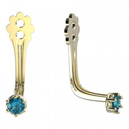 BeKid Gold earrings components 2 - Metal: Yellow gold 585, Stone: Light blue cubic zircon