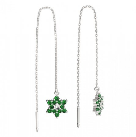 BeKid, Gold kids earrings -090 - Switching on: Chain 9 cm, Metal: White gold 585, Stone: Green cubic zircon