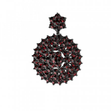 BG brooch 223 - Metal: Silver 925 - ruthenium, Stone: Moldavit and garnet