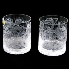 set of two crystal hand cut glasses Šafránek 3921+3922