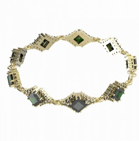 BG bracelet 427 - Metal: White gold 585, Stone: Moldavite and cubic zirconium