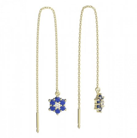 BeKid, Gold kids earrings -109 - Switching on: Chain 9 cm, Metal: Yellow gold 585, Stone: Dark blue cubic zircon