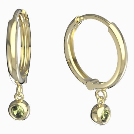 BeKid, Gold kids earrings -101 - Switching on: Circles 15 mm, Metal: Yellow gold 585, Stone: Green cubic zircon